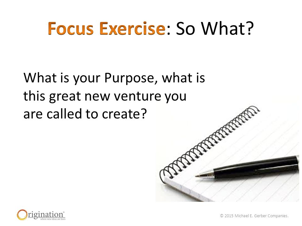 © 2015 Michael E. Gerber Companies. What is your Purpose, what is this great new venture you are called to create?