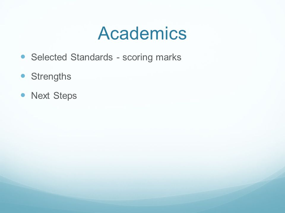 Academics Selected Standards - scoring marks Strengths Next Steps