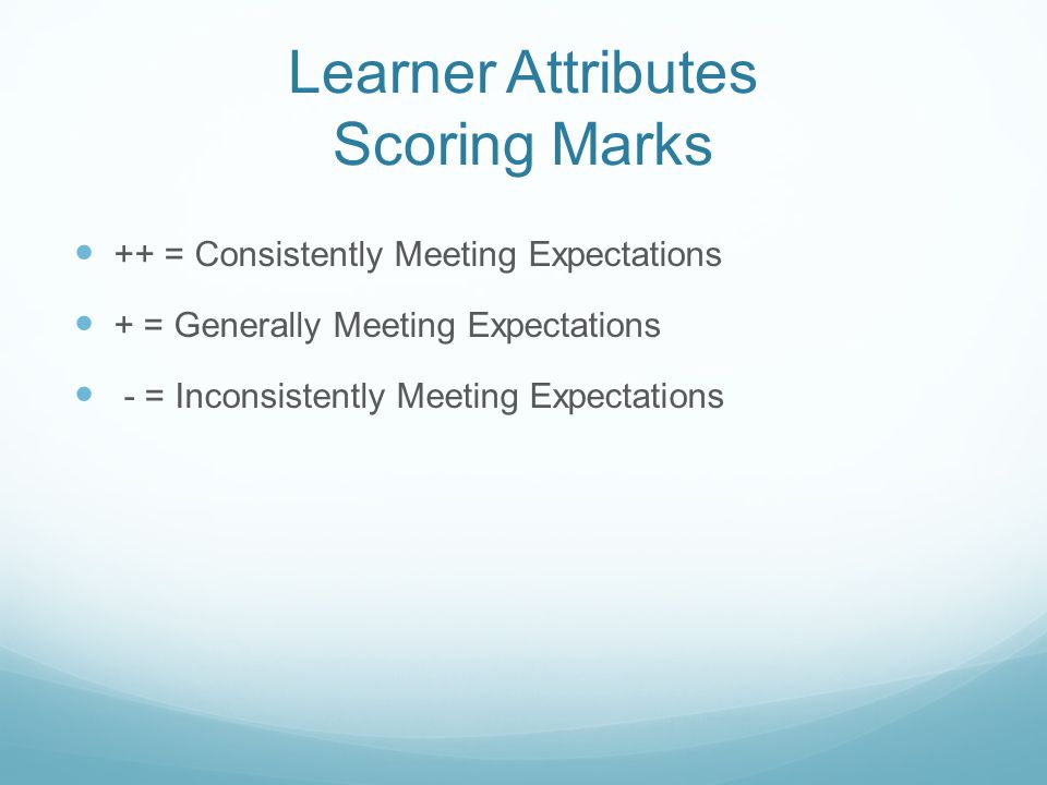 Learner Attributes Scoring Marks ++ = Consistently Meeting Expectations + = Generally Meeting Expectations - = Inconsistently Meeting Expectations