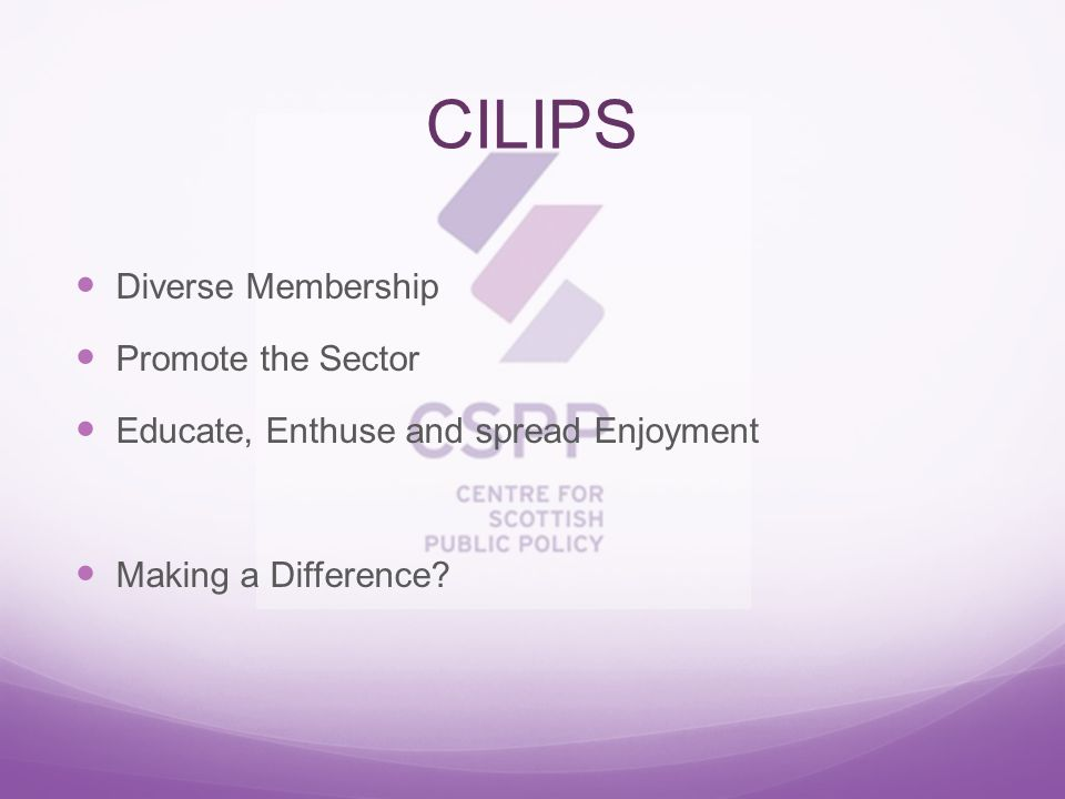 CILIPS Diverse Membership Promote the Sector Educate, Enthuse and spread Enjoyment Making a Difference