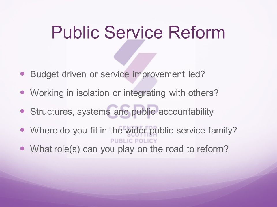 Budget driven or service improvement led. Working in isolation or integrating with others.