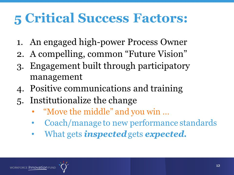 5 Critical Success Factors: 12 1.An engaged high-power Process Owner 2.A compelling, common Future Vision 3.Engagement built through participatory management 4.Positive communications and training 5.Institutionalize the change Move the middle and you win … Coach/manage to new performance standards What gets inspected gets expected.