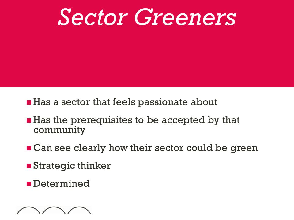 Has a sector that feels passionate about Has the prerequisites to be accepted by that community Can see clearly how their sector could be green Strategic thinker Determined Sector Greeners