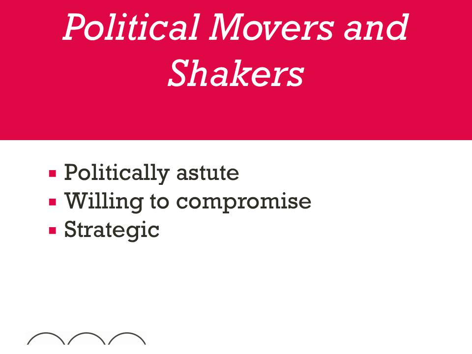  Politically astute  Willing to compromise  Strategic Political Movers and Shakers