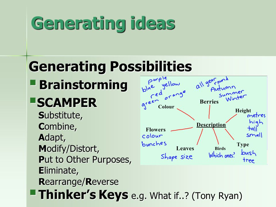 Generating ideas Generating Possibilities  Brainstorming  SCAMPER Substitute, Combine, Adapt, Modify/Distort, Put to Other Purposes, Eliminate, Rearrange/Reverse  Thinker's Keys e.g.