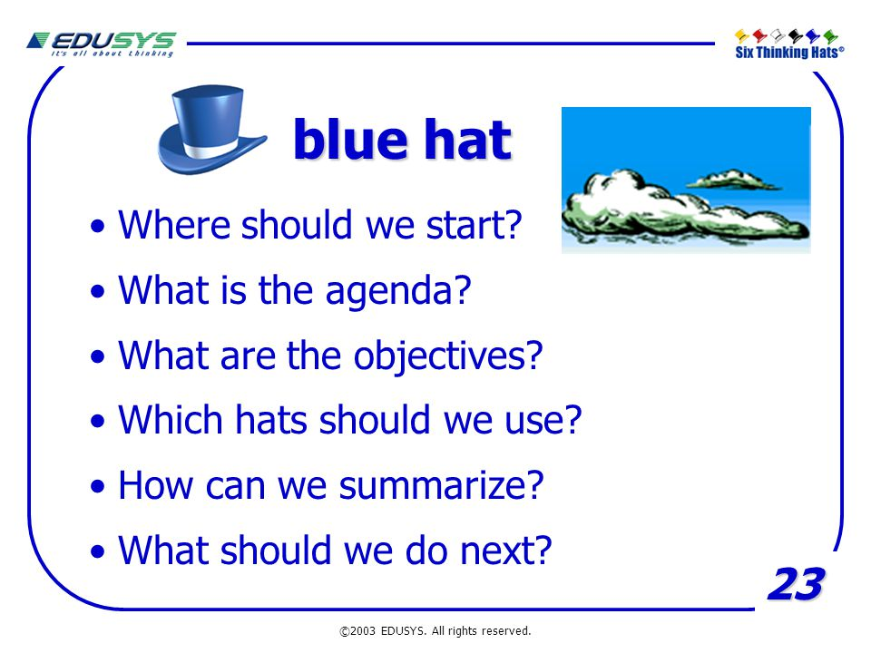 23 blue hat Where should we start? What is the agenda? What are the objectives? Which hats should we use? How can we summarize? What should we do next