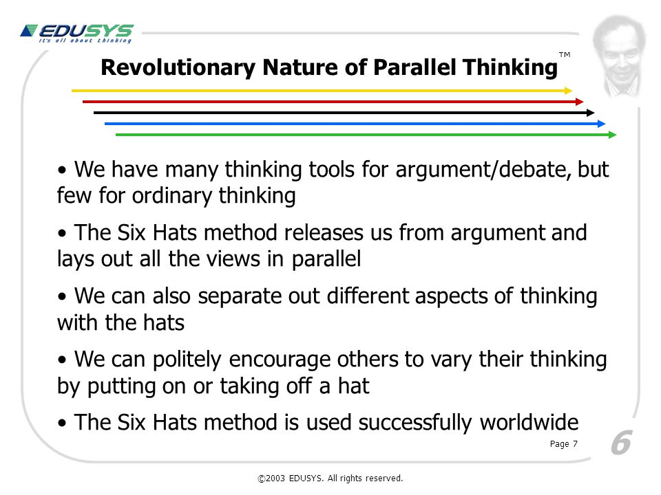 Revolutionary Nature of Parallel Thinking 6 We have many thinking tools for argument/debate, but few for ordinary thinking The Six Hats method release
