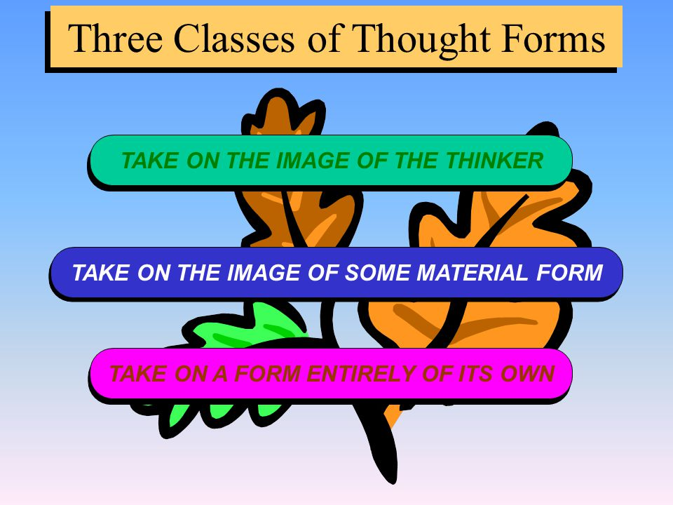 Three Classes of Thought Forms TAKE ON THE IMAGE OF THE THINKER TAKE ON THE IMAGE OF SOME MATERIAL FORM TAKE ON A FORM ENTIRELY OF ITS OWN