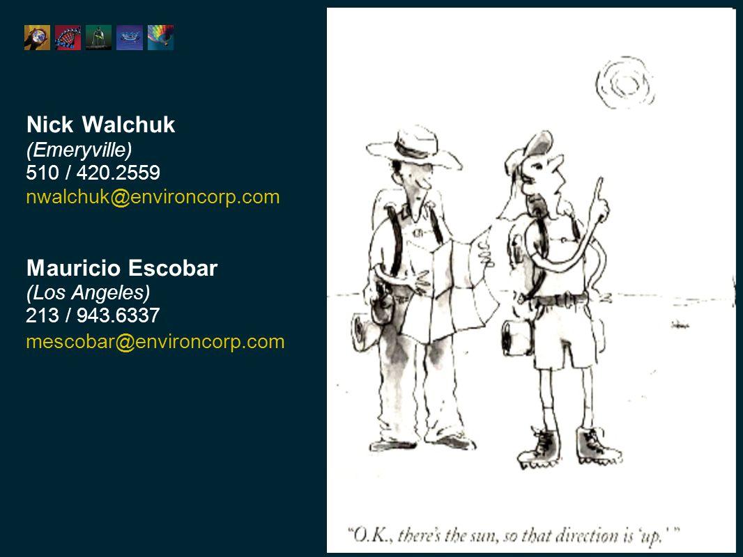 Nick Walchuk (Emeryville) 510 / 420.2559 nwalchuk@environcorp.com Mauricio Escobar (Los Angeles) 213 / 943.6337 mescobar@environcorp.com
