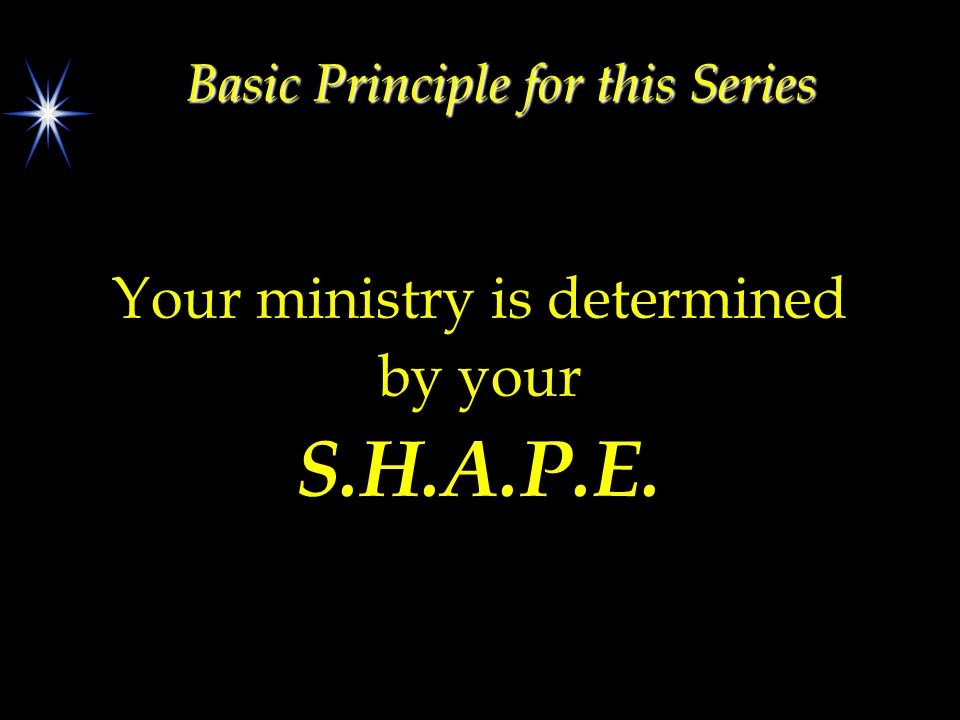 Basic Principle for this Series Your ministry is determined by your S.H.A.P.E.