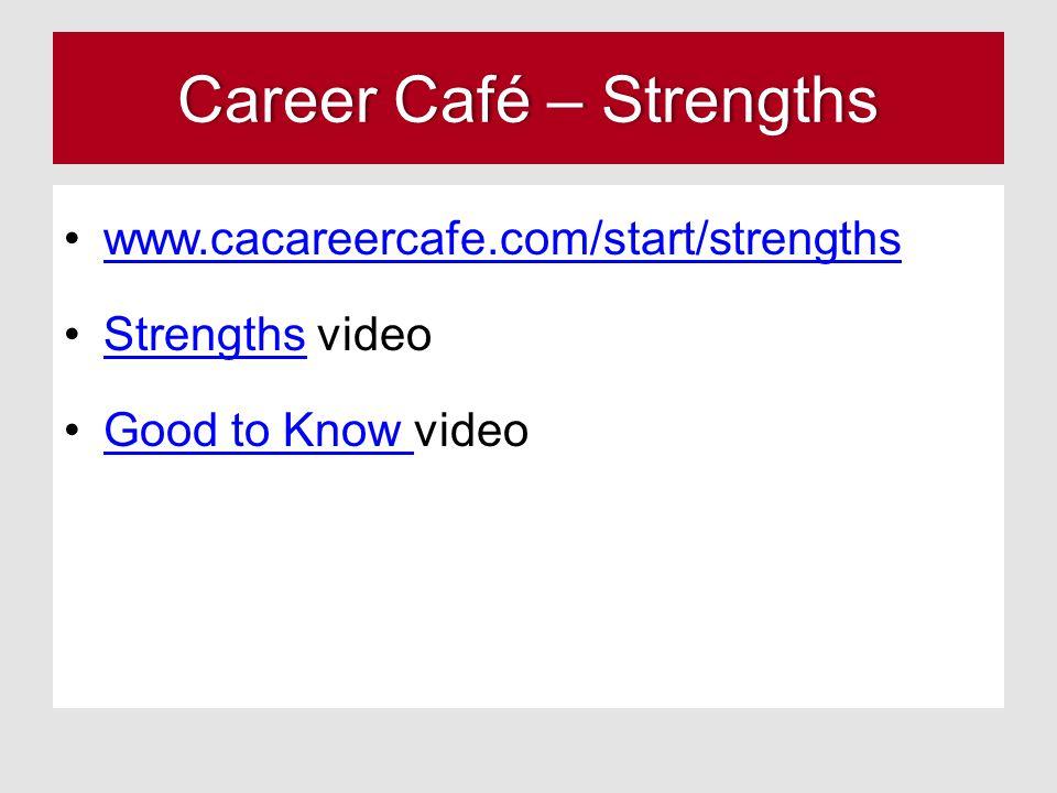 Career Café – StrengthsCareer Café – Strengths www.cacareercafe.com/start/strengths Strengths videoStrengths Good to Know videoGood to Know