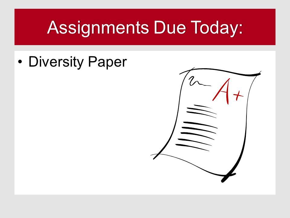 Assignments Due Today:Assignments Due Today: Diversity Paper
