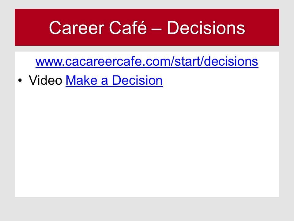Career Café – DecisionsCareer Café – Decisions www.cacareercafe.com/start/decisions Video Make a DecisionMake a Decision