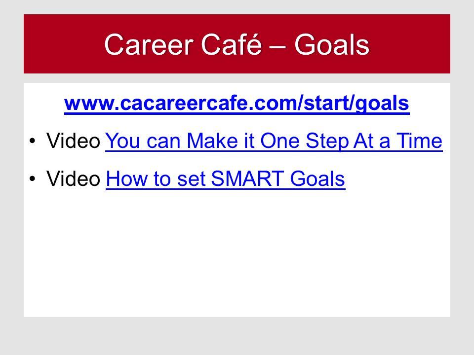 Career Café – GoalsCareer Café – Goals www.cacareercafe.com/start/goals Video You can Make it One Step At a TimeYou can Make it One Step At a Time Vid