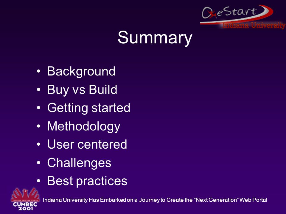 """Indiana University Has Embarked on a Journey to Create the """"Next Generation"""" Web Portal Summary Background Buy vs Build Getting started Methodology Us"""