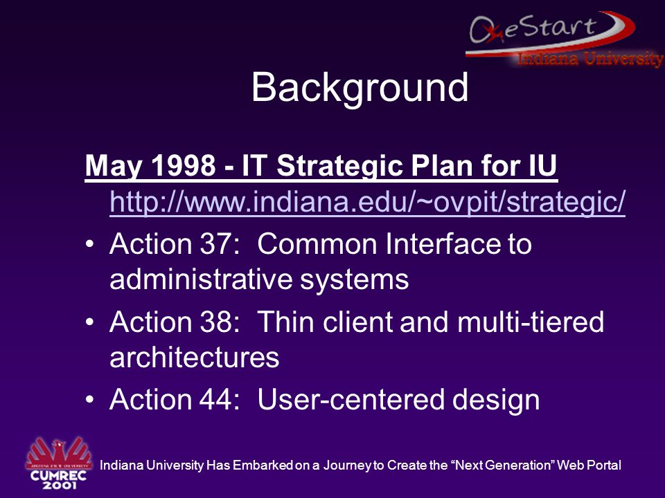 Indiana University Has Embarked on a Journey to Create the Next Generation Web Portal Background May 1998 - IT Strategic Plan for IU http://www.indiana.edu/~ovpit/strategic/ http://www.indiana.edu/~ovpit/strategic/ Action 37: Common Interface to administrative systems Action 38: Thin client and multi-tiered architectures Action 44: User-centered design