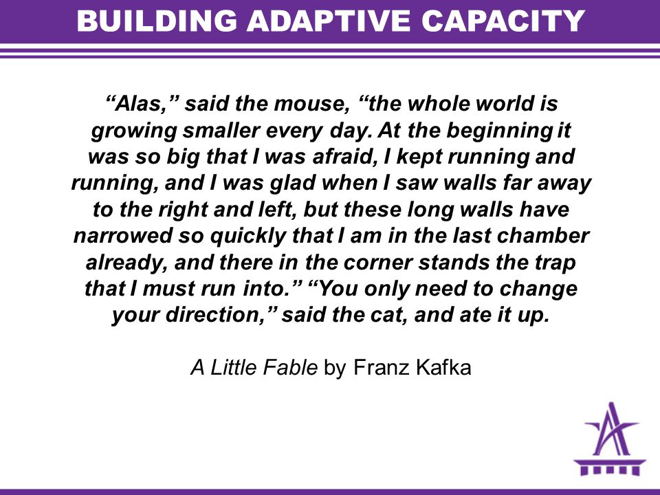 BUILDING ADAPTIVE CAPACITY Alas, said the mouse, the whole world is growing smaller every day.