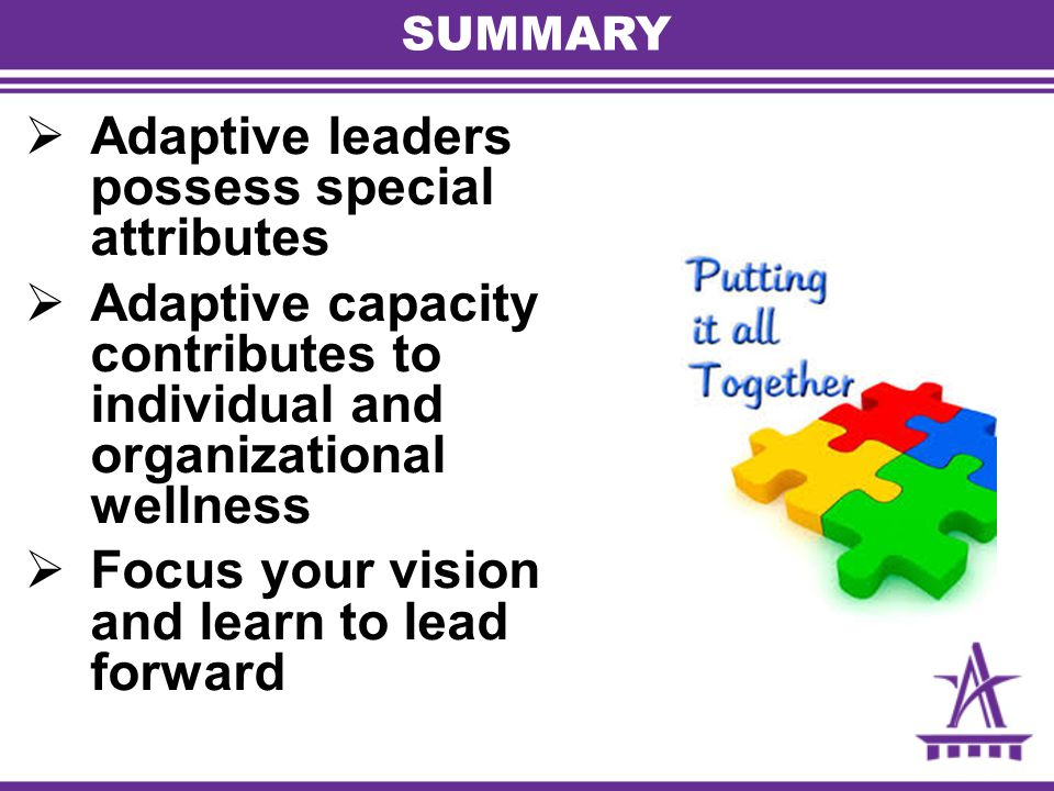 SUMMARY  Adaptive leaders possess special attributes  Adaptive capacity contributes to individual and organizational wellness  Focus your vision an