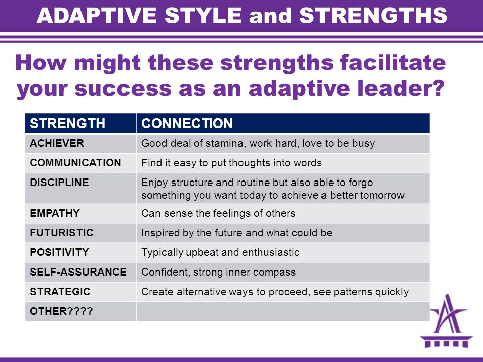 ADAPTIVE STYLE and STRENGTHS How might these strengths facilitate your success as an adaptive leader.