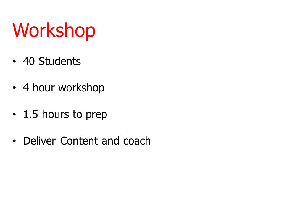 Workshop 40 Students 4 hour workshop 1.5 hours to prep Deliver Content and coach