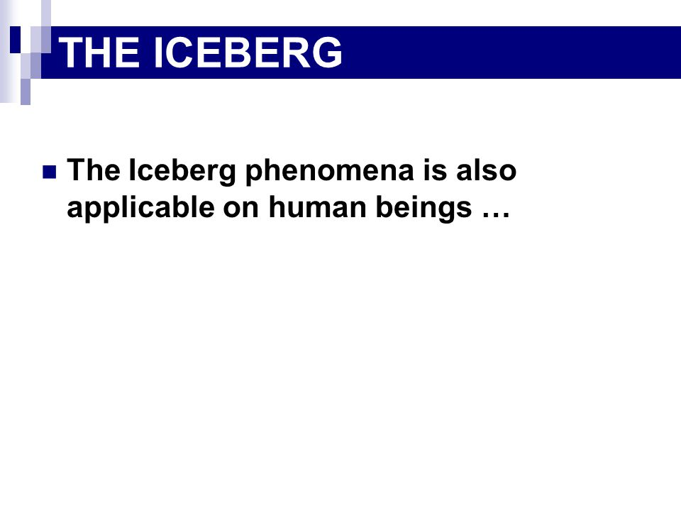 The Iceberg phenomena is also applicable on human beings … THE ICEBERG