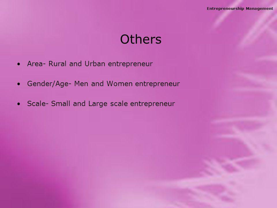 Entrepreneurship Management Others Area- Rural and Urban entrepreneur Gender/Age- Men and Women entrepreneur Scale- Small and Large scale entrepreneur