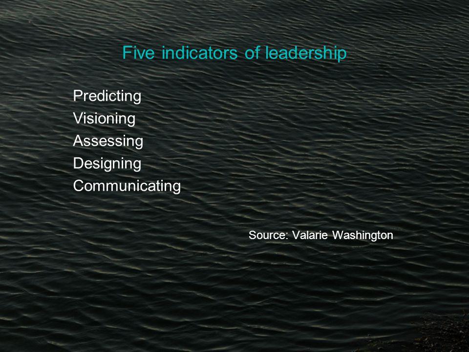 Five indicators of leadership Predicting Visioning Assessing Designing Communicating Source: Valarie Washington