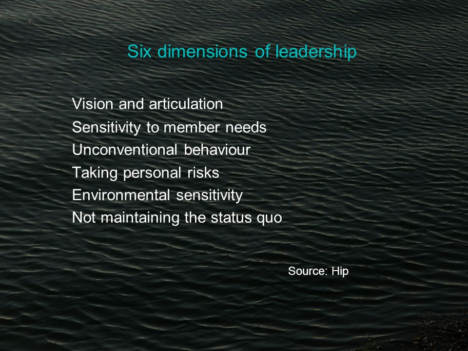Six dimensions of leadership Vision and articulation Sensitivity to member needs Unconventional behaviour Taking personal risks Environmental sensitivity Not maintaining the status quo Source: Hip