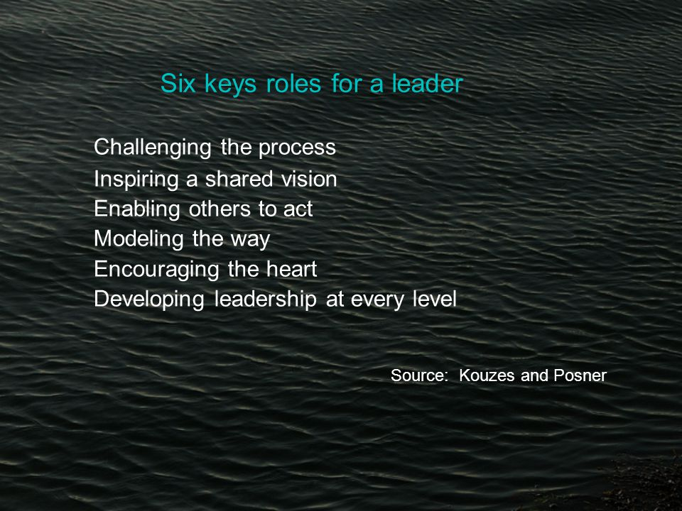 Six keys roles for a leader Challenging the process Inspiring a shared vision Enabling others to act Modeling the way Encouraging the heart Developing leadership at every level Source: Kouzes and Posner