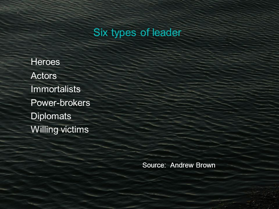 Six types of leader Heroes Actors Immortalists Power-brokers Diplomats Willing victims Source: Andrew Brown