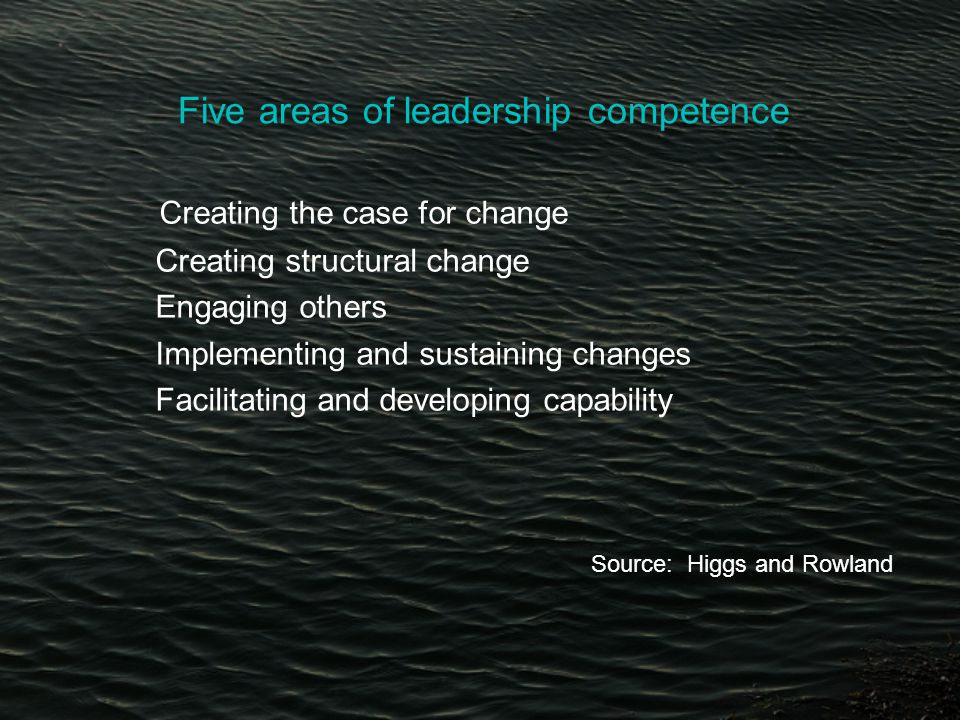 Five areas of leadership competence Creating the case for change Creating structural change Engaging others Implementing and sustaining changes Facilitating and developing capability Source: Higgs and Rowland