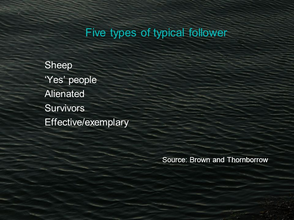 Five types of typical follower Sheep 'Yes' people Alienated Survivors Effective/exemplary Source: Brown and Thornborrow