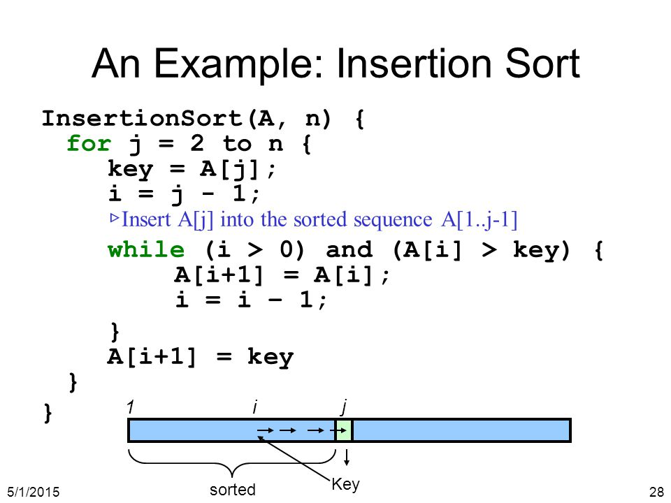 5/1/201528 An Example: Insertion Sort InsertionSort(A, n) { for j = 2 to n { key = A[j]; i = j - 1; ▷ Insert A[j] into the sorted sequence A[1..j-1] while (i > 0) and (A[i] > key) { A[i+1] = A[i]; i = i – 1; } A[i+1] = key } } 1i j Key sorted