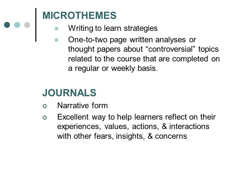 MICROTHEMES Writing to learn strategies One-to-two page written analyses or thought papers about controversial topics related to the course that are completed on a regular or weekly basis.