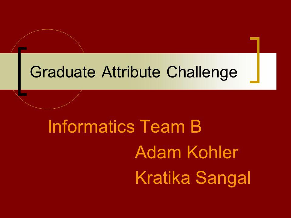 Graduate Attribute Challenge Informatics Team B Adam Kohler Kratika Sangal