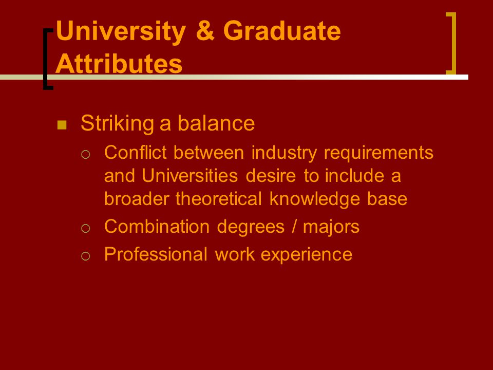 University & Graduate Attributes Striking a balance  Conflict between industry requirements and Universities desire to include a broader theoretical