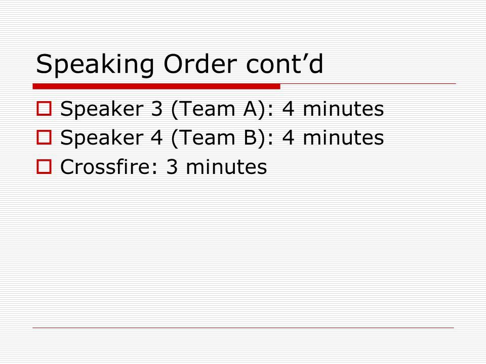 Speaking Order cont'd  Speaker 3 (Team A): 4 minutes  Speaker 4 (Team B): 4 minutes  Crossfire: 3 minutes