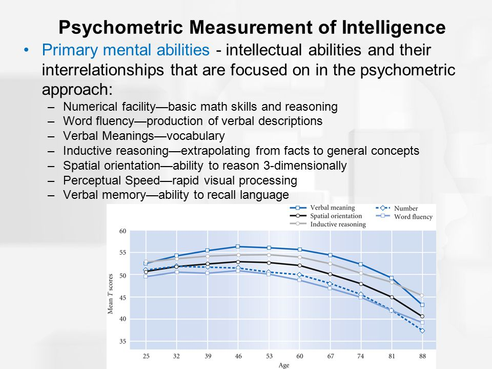 Psychometric Measurement of Intelligence Primary mental abilities - intellectual abilities and their interrelationships that are focused on in the psychometric approach: –Numerical facility—basic math skills and reasoning –Word fluency—production of verbal descriptions –Verbal Meanings—vocabulary –Inductive reasoning—extrapolating from facts to general concepts –Spatial orientation—ability to reason 3-dimensionally –Perceptual Speed—rapid visual processing –Verbal memory—ability to recall language