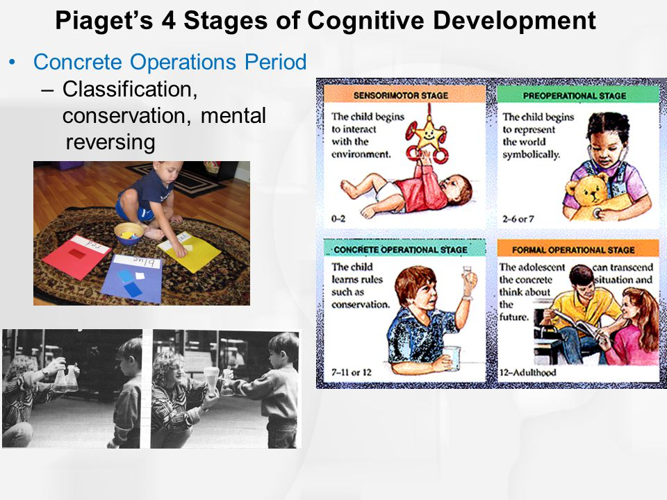 Piaget's 4 Stages of Cognitive Development Concrete Operations Period –Classification, conservation, mental reversing