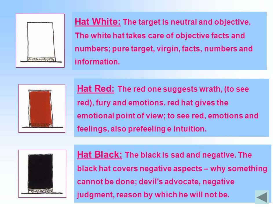 Hat White: The target is neutral and objective. The white hat takes care of objective facts and numbers; pure target, virgin, facts, numbers and infor
