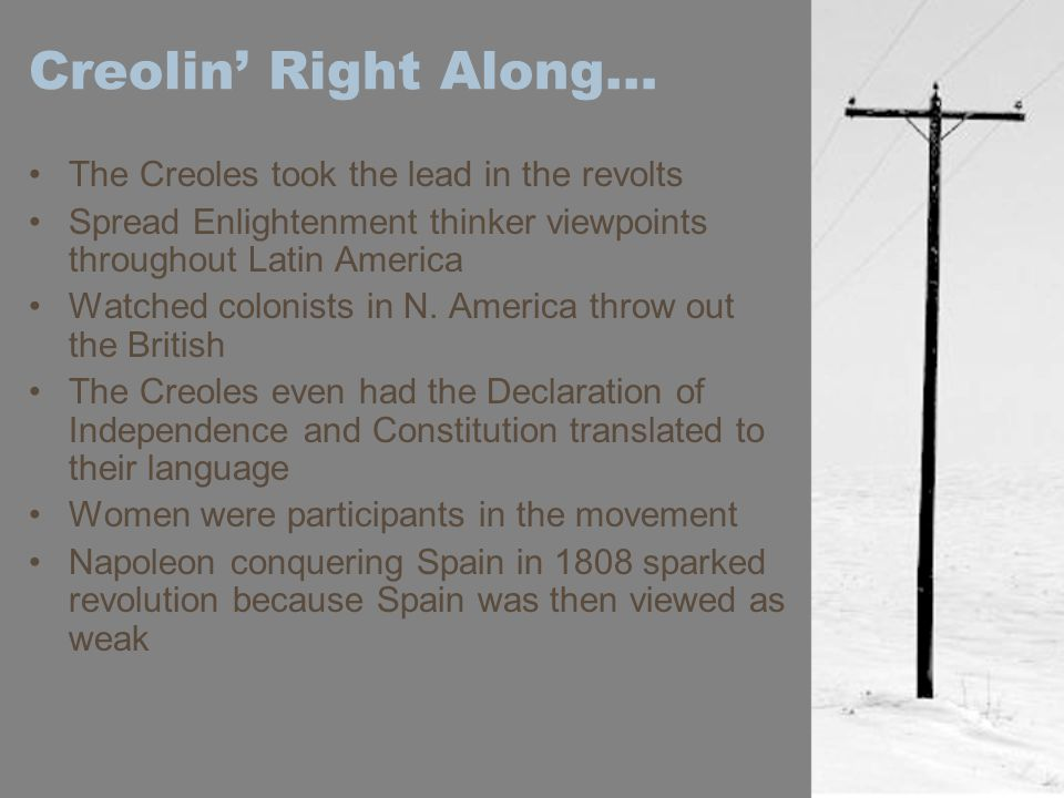 Creolin' Right Along… The Creoles took the lead in the revolts Spread Enlightenment thinker viewpoints throughout Latin America Watched colonists in N.