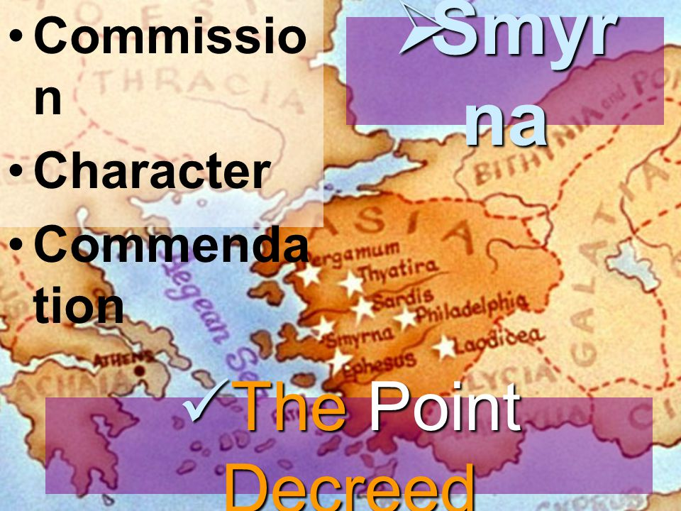 Commissio n Character Commenda tion  Smyr na The Point Decreed The Point Decreed