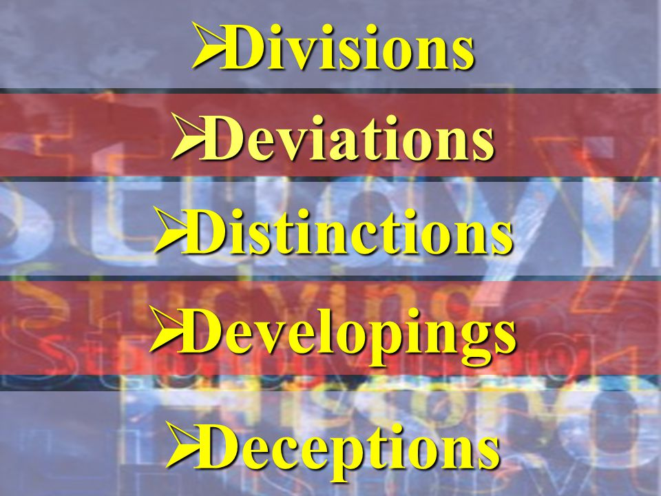  Divisions  Deviations  Distinctions  Developings  Deceptions