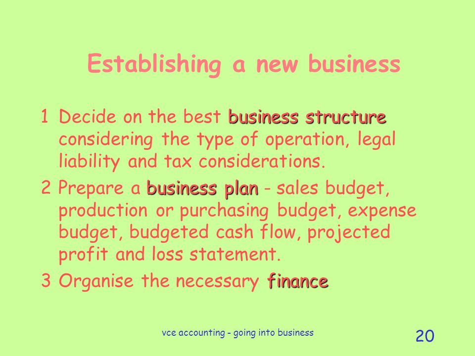 vce accounting - going into business 20 Establishing a new business business structure 1Decide on the best business structure considering the type of operation, legal liability and tax considerations.