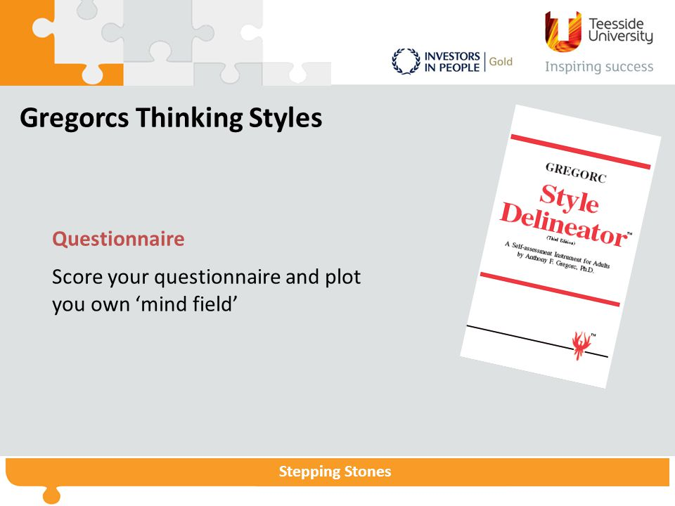 Stepping Stones Gregorcs Thinking Styles Questionnaire Score your questionnaire and plot you own 'mind field'