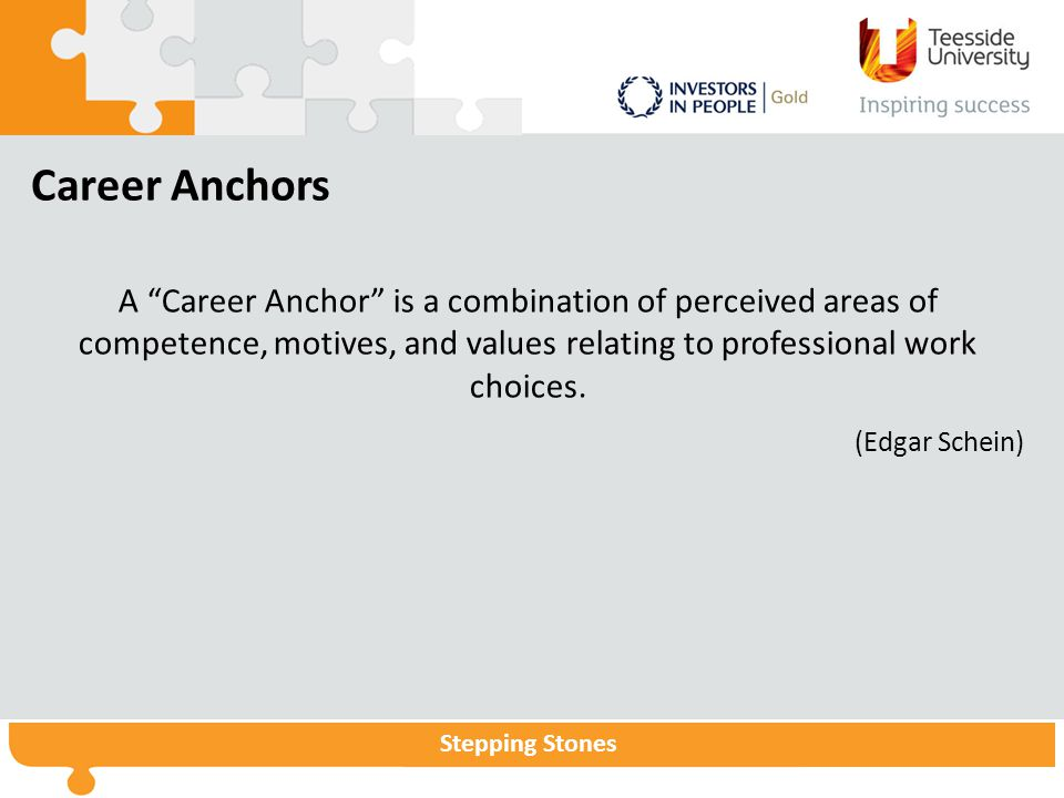 "Stepping Stones Career Anchors A ""Career Anchor"" is a combination of perceived areas of competence, motives, and values relating to professional work"