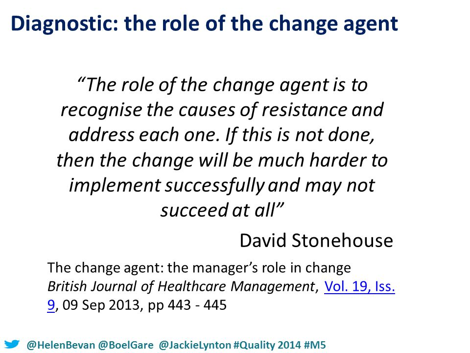 #NHSChangeDay #SHCRchat@HelenBevan @BoelGare @JackieLynton #Quality 2014 #M5 The role of the change agent is to recognise the causes of resistance and address each one.