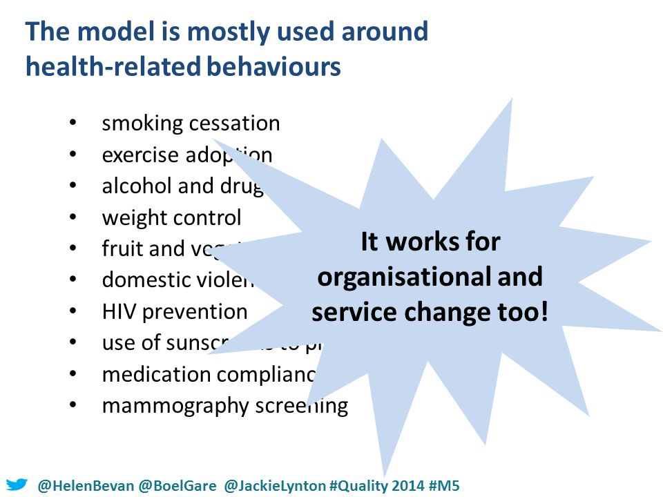 #NHSChangeDay #SHCRchat@HelenBevan @BoelGare @JackieLynton #Quality 2014 #M5 The model is mostly used around health-related behaviours smoking cessation exercise adoption alcohol and drug use weight control fruit and vegetable intake domestic violence HIV prevention use of sunscreens to prevent skin cancer medication compliance mammography screening It works for organisational and service change too!