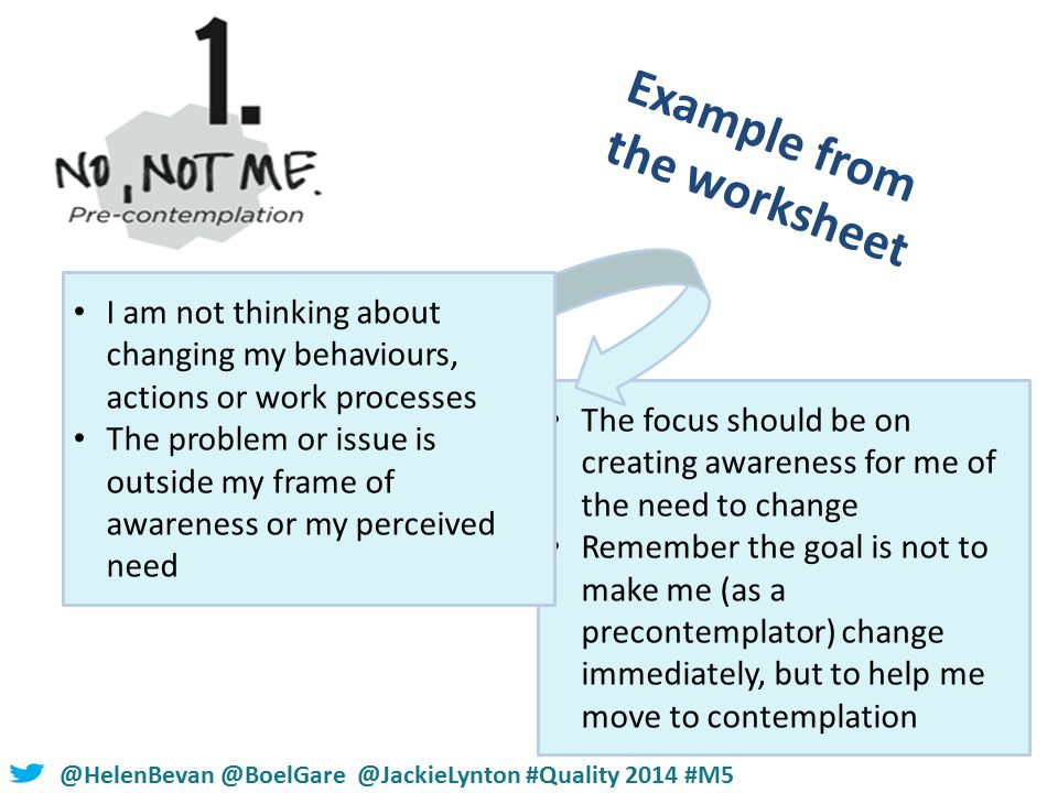 #NHSChangeDay #SHCRchat@HelenBevan @BoelGare @JackieLynton #Quality 2014 #M5 The focus should be on creating awareness for me of the need to change Remember the goal is not to make me (as a precontemplator) change immediately, but to help me move to contemplation Example from the worksheet I am not thinking about changing my behaviours, actions or work processes The problem or issue is outside my frame of awareness or my perceived need
