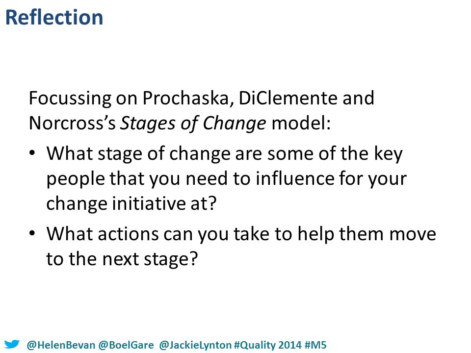 #NHSChangeDay #SHCRchat@HelenBevan @BoelGare @JackieLynton #Quality 2014 #M5 Focussing on Prochaska, DiClemente and Norcross's Stages of Change model: What stage of change are some of the key people that you need to influence for your change initiative at.